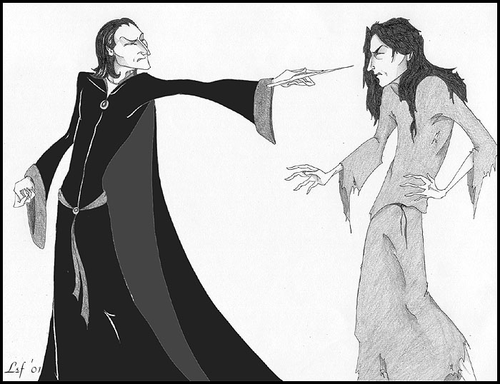 Confrontation: Sirius and Snape by Laura Freeman